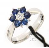 Recarlo Anello Oro Bianco collezione  ORTENSIA Diamanti Zaffiri