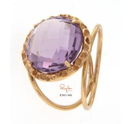 Quaglia anello oro rosa k18 con ametista