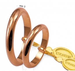 UnoAErre fede nuziale FRANCESINA oro rosa mm 3