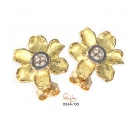Quaglia orecchini oro giallo k18 pavè diamanti ct 0,064