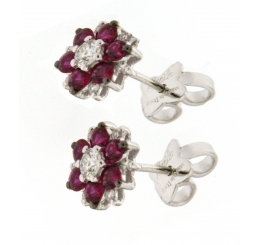 Recarlo Orecchini Oro Bianco collezione Ortensia Diamanti Rubini