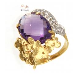 Quaglia anello oro giallo k18 ametista diamanti ct 0,128