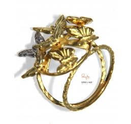 Quaglia anello oro giallo e bianco k18 pavè diamanti ct 0,048