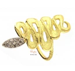 Quaglia anello biscione oro giallo k18 pavè diamantict 0,104