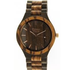 Green Time Orologio Solo Tempo 100% legno Zebrano e Noce