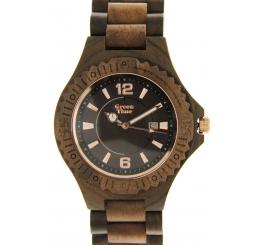 Green Time Orologio Solo Tempo 100% legno Noce e Sandalo nero