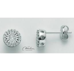 Miluna Orecchini Oro Bianco 750/1000 18Kt - Diamanti  0.12 ct