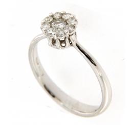 Colombo - Collezione Privata Anello Oro bianco 18K con rosa di Diamanti