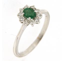 Colombo - Collezione Privata Anello Oro bianco 18K Smeraldo  Diamanti