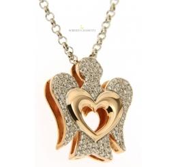 Roberto Giannotti collana con pendente ANGELO argento con cuore zirconi