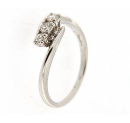 Miluna Anello Trilogy Oro bianco 18K  tre Diamanti