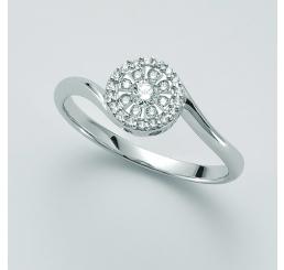 Miluna Anello  FAVOLOSA Oro Bianco con diamante e pavè