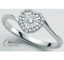 Miluna Anello Oro Bianco  18K  Cuore Diamanti 0,12 ct