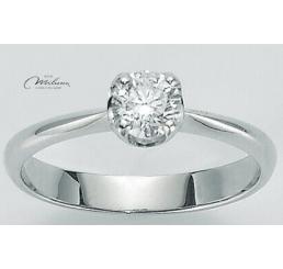 Miluna Anello Solitario Oro Bianco  18K  Diamante 0,18 ct