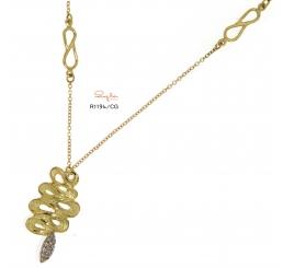 Quaglia collana con serpente oro giallo k18 e pavè diamanti ct 0,104