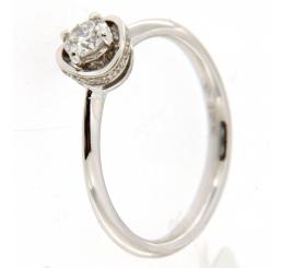 Donna Oro Anello Diamante con contorno brill Oro biaco 18K