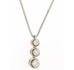Donna Oro Collana Oro bianco 18K con ciondolo Trilogy