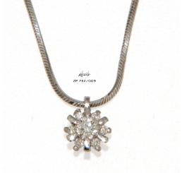 Recarlo collana girocollo punto luce contornato oro bianco k18 gr 3,40 diamanti ct 0,09 ct 0,04