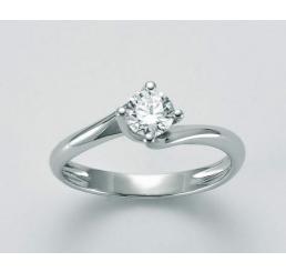 Miluna Anello Solitario Oro Bianco  18K  Diamante 0,20 ct