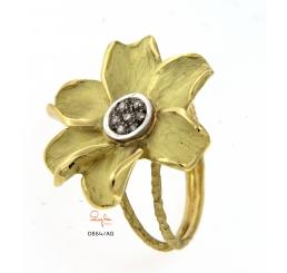Quaglia anello oro giallo k18 fiore con pavè dia,manti ct 0,056