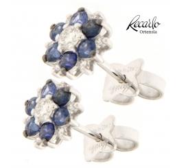 Recarlo Orecchini colore Ortensia oro bianco 18 Kt gr2,17 con diamanti ct 031 zaffiri ct 0,94