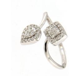 Donna Oro Anello Oro Bianco  con diamanti Contrarie'