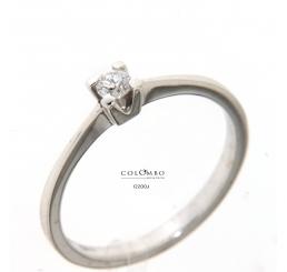 Colombo - Collezione Privata anello solitario oro bianco 18k diamante colore G ct0,12
