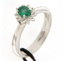 Recarlo Anello Oro bianco 18K Smeraldo Diamanti