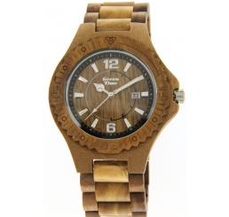 Green Time Orologio Solo Tempo 100% legno Noce e Sandalo verde